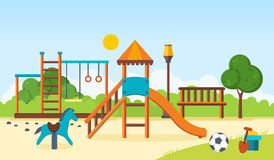 Kids playground, horizontal bars, swings, walking park, children`s toys. Stock Image