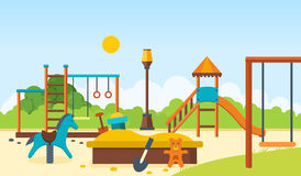 Kids playground, horizontal bars and swings, walking park, children`s toys. Concept illustration - kids playground, entertainment in the form of horizontal bars Royalty Free Stock Photo
