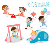 Kids at playground, kids time.isolated on white background. Vector Illustration Stock Photo