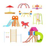 Kids playground and kindergarten, isolated icons and design elements. Vector cartoon illustration stock illustration