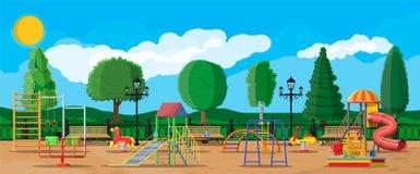 Free Kids Playground Kindergarten Panorama Royalty Free Stock Image - 123954196