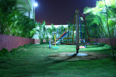 Kids Playground at Night. Abandoned kids playground at Night Royalty Free Stock Photography