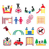 Kids playground, outdoor or indoor place for children to play icons set Royalty Free Stock Images