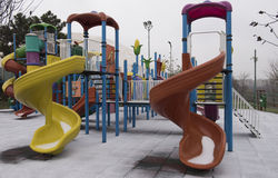 Kids playground. Placed in a park in a winter day Royalty Free Stock Images