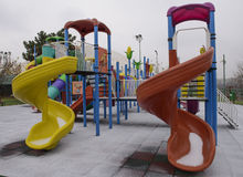 Kids playground. Placed in a park in a winter day Royalty Free Stock Photos