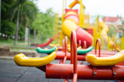 Kids Playground. Totter in playground.fun and happy Royalty Free Stock Image