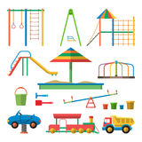 Kids playground vector illustration with  objects. Children design elements and icons in flat style Stock Image