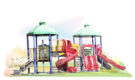 Kids playground. Watercolor sketch of  kids playground Royalty Free Stock Photos