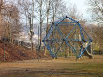 Kids playgroung with blue climbing structure and ropes Stock Image