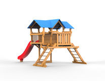 Kids playhouse made out of wood with blue roof. On white background Royalty Free Stock Photo