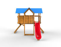 Kids playhouse - with red slide. Isolated on white background Royalty Free Stock Photography