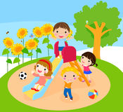 Kids playing. Illustration of group of kids playing Royalty Free Stock Images