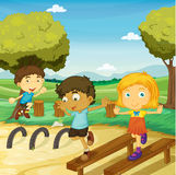 Kids playing. Illustration of kids playing in a beautiful nature Stock Photo