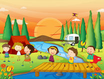 Kids playing. Illustration of a river, a bench and kids in a beautiful nature Royalty Free Stock Images