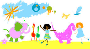 Kids playing royalty free illustration