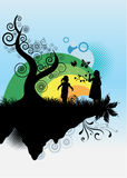 Kids playing. An abstract illustration of two girls silhouettes Royalty Free Stock Photos