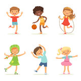 Kids playing in active games. Vector illustrations of funny children at playground. Happy child girl and boy, childhood and youthful Royalty Free Stock Photos