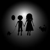 Kids playing the adventurers. Brother and sister, hand in hand, imagine an adventure trip Royalty Free Stock Image