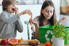 Kids playing with apple skin. Kids playing with an apple skin while segregating waste in the kitchen royalty free stock images