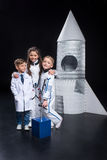 Kids playing astronauts Royalty Free Stock Images
