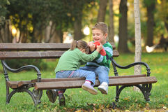 Kids  playing in autumn park Royalty Free Stock Images