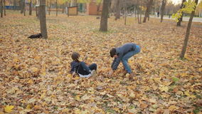 Kids playing in autumn park stock video footage
