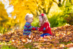 Kids playing in autumn park stock image