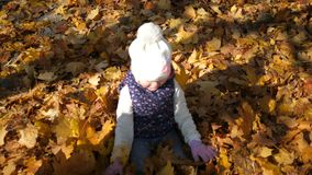 Kids playing in autumn park. A little girl lies in a pile of yellow leaves, leaves pour down on top of her, joy. Happiness, a warm autumn day. hd stock footage