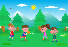 Kids playing with ball in the nature Royalty Free Stock Photo