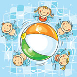 Kids playing ball in the swimming pool vector illustration