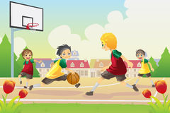 Kids playing basketball. A vector illustration of kids playing basketball in the suburban area royalty free illustration
