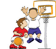 Kids playing basketball. Illustration of two boys in a basketball court, one is bouncing the ball, the other is blocking vector illustration