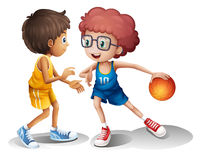 Kids playing basketball. Illustration of kids playing basketball on a white background stock illustration