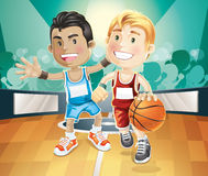 Kids playing basketball on indoor court. Illustration cartoon character stock illustration