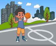 Kids playing basketball in the park cartoon. Full color stock illustration