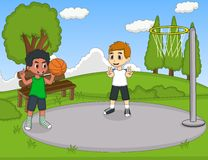 Kids playing basketball in the park. Full color vector illustration