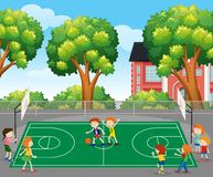 Kids playing basketball scene. Illustration stock illustration