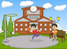 Kids playing basketball on the school cartoon vector illustration. Full color vector illustration