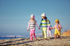 Kids playing at the beach Royalty Free Stock Photography