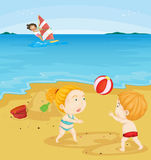 Kids playing at beach Stock Photos
