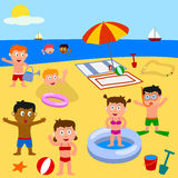 Kids Playing on the Beach. Kids playing together on the beach. Eps file available Stock Image