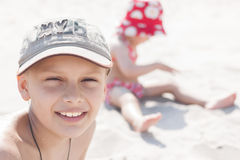 Kids playing on a beach. Kids brother and sister playing on a beach Stock Image