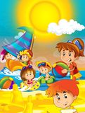 The kids playing at the beach, diving, building in sand - ocean - sea - illustration for the children Royalty Free Stock Photos