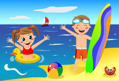 Kids Playing at the Beach. Illustration featuring little girl and boy having leisure time at the beach. Eps file is available. You can find other illustrations Royalty Free Stock Image