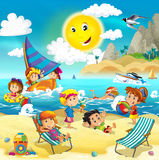 Kids playing at the beach - ocean. Beautiful and colorful ocean illustration children Stock Images