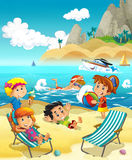 Kids playing at the beach - sea Royalty Free Stock Image