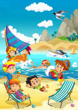 Kids playing at the beach - sea. Beautiful and colorful ocean illustration for the children Stock Photography
