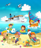 Kids playing at the beach - sea. Beautiful and colorful ocean illustration for the children Stock Photos