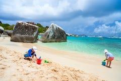 Kids playing at beach Stock Photos