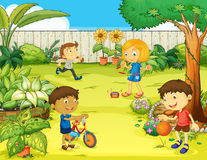 Kids playing in a beautiful nature Royalty Free Stock Images
